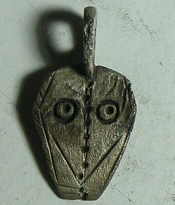 Rare genuine ancient Celtic silver ritual pendant artifact IDOL 3 Cent BC intact