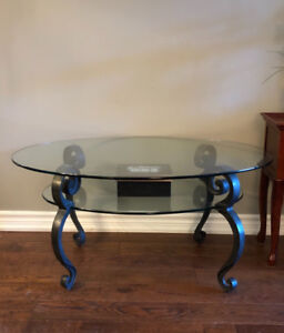 Oval Glass Coffee Table 2 Tier