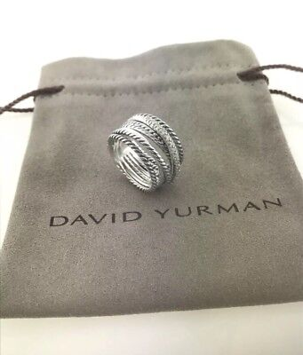 David Yurman Sterling Silver Diamond Crossover Cable Wide Band Ring Size 7 Wide Diamond Band
