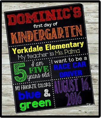 CUSTOM FIRST Day of School sign, 1st Day,  KINDERGARTEN Chalkboard sign, U Print - 1st Day Of Kindergarten