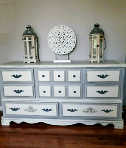 refinished long dresser grey and white
