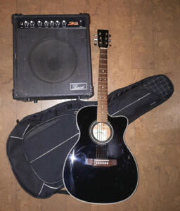 Sigma accoustic guitar and 25 watt amplifier.