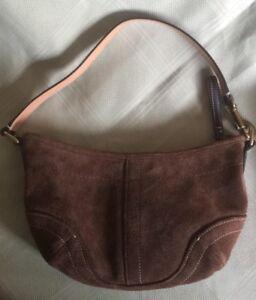 COACH Soho Suede Leather Strap Hobo Bag Purse Handbag