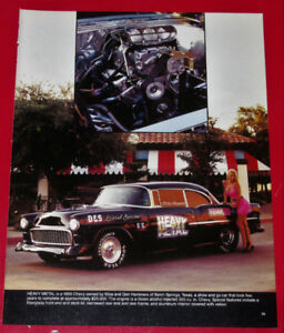 OLD PICTURE - 1955 CHEVY BEL AIR HEAVY METAL HOT ROD - VINTAGE