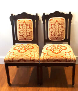 Pair of Beautifully Upholstered Antique Accent Chairs