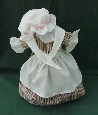 American Girl FELICITY Retired WORK GOWN + APRON + CAP + SHAWL REPRODUCTION