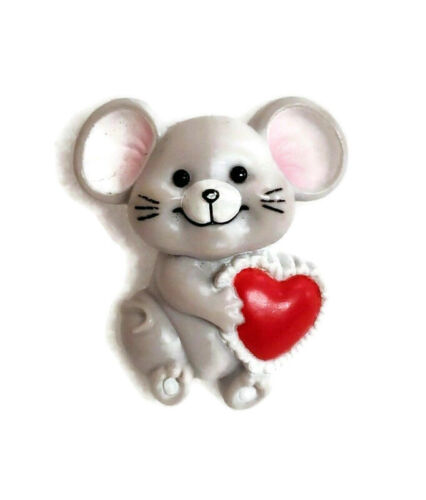 """Russ Pin Valentines Day Vintage Mouse Red Heart Holiday Plastic 1.5"""""""