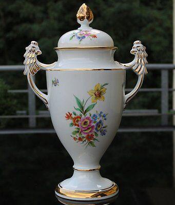 Art Deco Porzellan Deckel Amphore um 1920 !!! Florale Handbemalung !!!