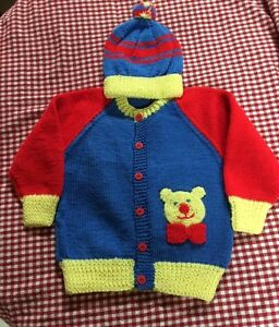 Children's Knitted Sweater/ Cardigan & Matching Hat Set, 2-3T