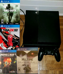 PS4 with 1TB hard drive and 4 games