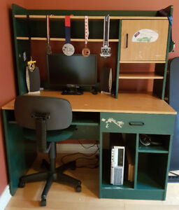 Moving sale - Kids green desk and tall bookcase.