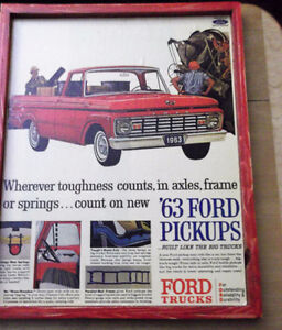 2 diff. Ford Truck ads - 1954 &1963 - mounted,ready to display