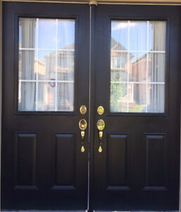Selling Entrance Steel and Glass insert Double DoorCan Deliver