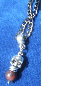 New Ugly Skull Head Bloodstone Gemstone Gunmetal Chain Necklace