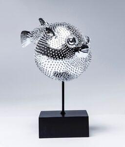Kare Design 37369 Dekofigur Blowfish Fisch Deko Kugelfisch Silber Eisen