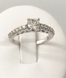 14k white gold diamond engagement ring / Certified at $4,700
