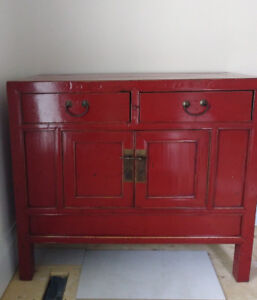 Antique Red Lacquered Chinese Cupboard, solid elm