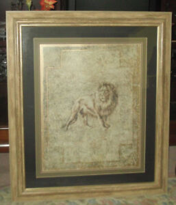 BEAUTIFULLY FRAMED PICTURE OF LION  40 IN. HIGH x 36 IN. WIDE