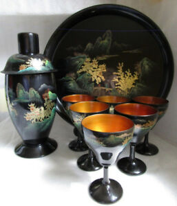 VTG FOOCHOW LACQUER Chinese Arts & Crafts MARTINI SET Shaker +++