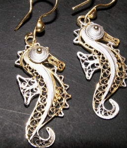 Beautiful 24K Gold Plated Filigree Earrings on Sterling Silver