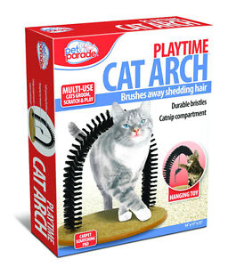 Brand New Pet Parade Cat Arch Groom Scratch Play With Toy Mouse