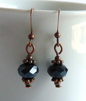 Copper Crystal Earrings - Victorian Vintage Style Black Crystal Dangle Lightweight Pierced Copper Earrings
