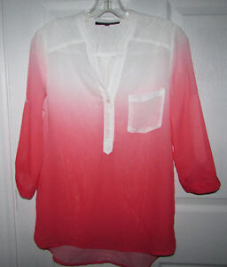 Coral Ombre Tunic Top Blouse - Small