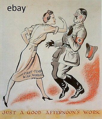 WW2 PROPAGANDA POSTER BRITISH WOMAN WAR WORKER SLAPS HITLER NEW A4 PRINT