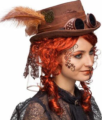 Steampunk Hut mit Brille braun NEU - Karneval Fasching Hut Mütze Kopfbedeckung