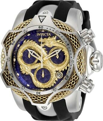 Invicta Reserve Mens 52mm Venom Dragon Swiss Yellow-Gold Blue Dial Strap Watch