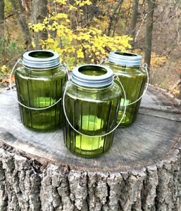 Green Glass Lanterns (3) - UNSOLD AUCTION ITEM - New
