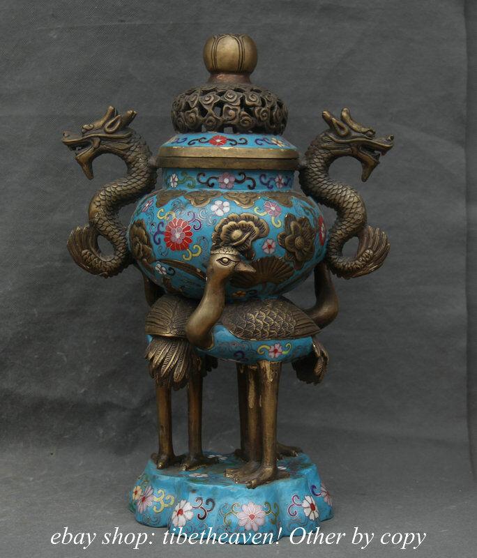 "16"" Qianlong MK China Bronze Cloisonne Enamel Dragon Crane Incense Burner Censer"