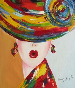 "abstract Oil Painting on Canvas - Modern Lady in Hat 20""x24"""