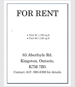 2 Units For Rent in Kingston Plaza