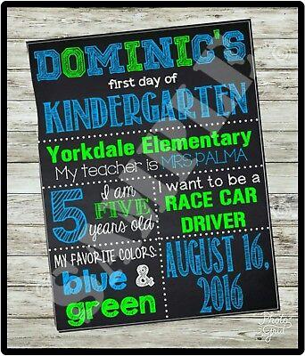 CUSTOM FIRST Day of School sign, KINDERGARTEN Chalkboard sign, U PRINT, 1st - 1st Day Of Kindergarten