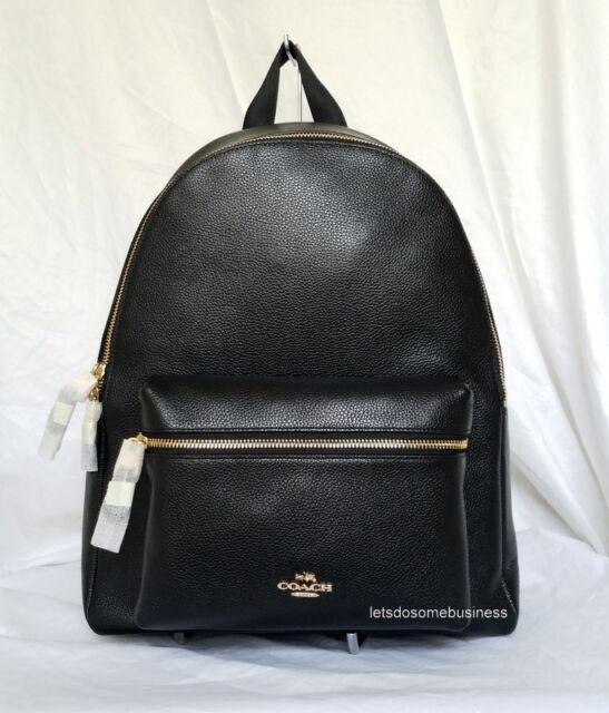 Coach Pebble Leather Charlie Backpack F38288 Saddle | eBay