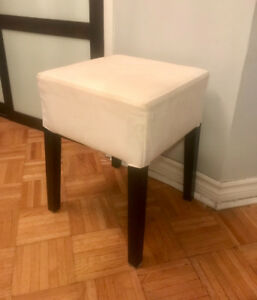 Small square stool - white fabric