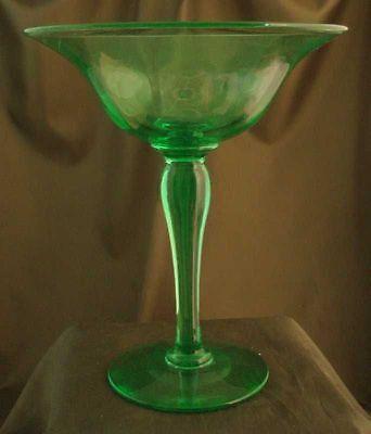 Elegant American Hand Blown Uranium Green Compote