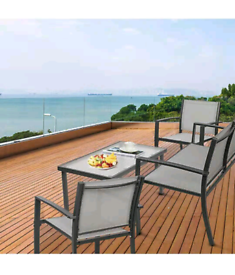 4 Curved Steel Outdoor Dining Set