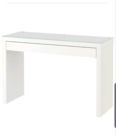 Malm White Dressing Table with glass cover and swivel chair