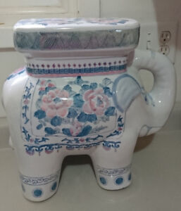 Vintage Large Porcelain Elephant White w/ Pink and Blue Flowers