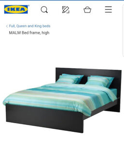 CHOCOLATE MALM DOUBLE BED FRAME!!!! GREAT SHAPE!!!