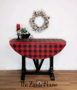 Buffalo plaid drop leaf table