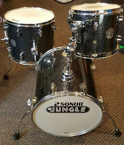 SONOR JUNGLE KIT FORCE 3005 SHELL PACK W SNARE BLACK SPARKLE!
