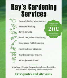 Ray's Gardening Services / Regular lawn mowing/hedge trim/tree cutting