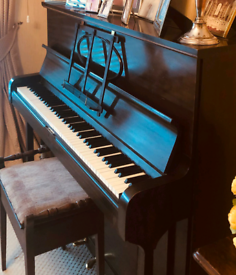 Henry Ward (London) Upright Piano with Vintage Stool