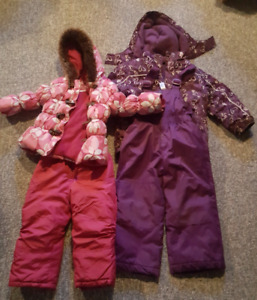 Girls pink size 3 and purple size 4 snowsuits