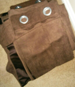 "CHOCOLATE BROWN 55"" by 96"" FAUX SUEDE GROMMET CURTAIN PANELS - 8"