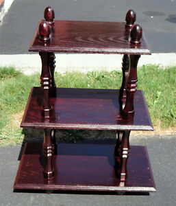 Solid wooden three tier cherry coloured bookcase shelving London Ontario image 1
