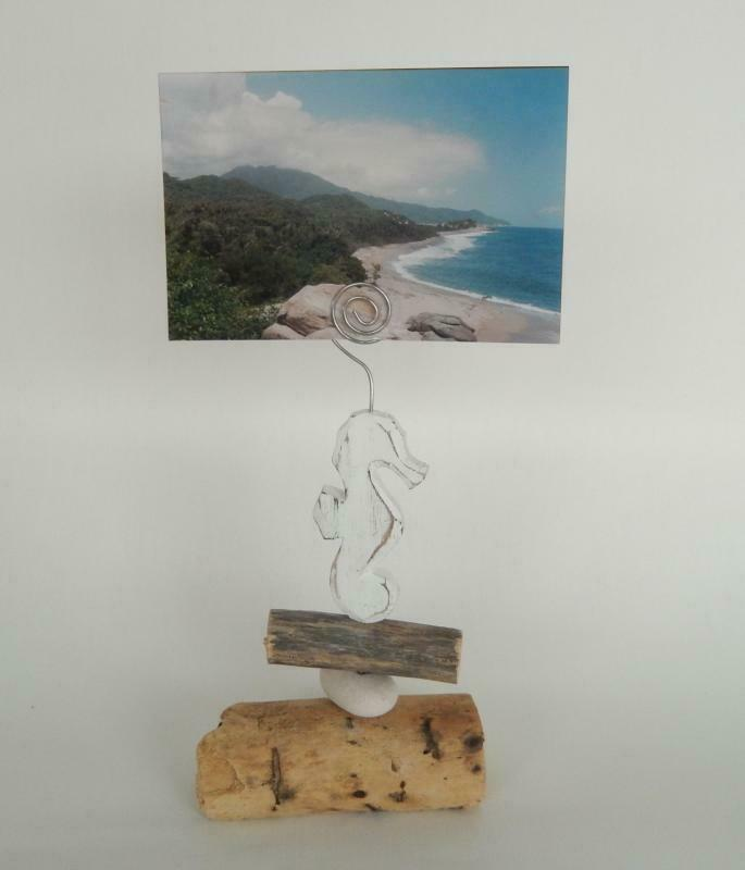 Kartenhalter Seepferd aus Holz Postkartenhalter Dekofigur 20 cm Gartendeko ...